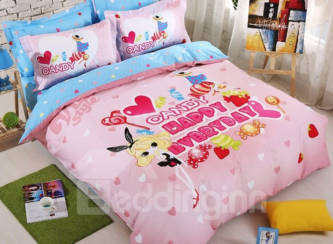 Lovely Rabbit Girl 100% Cotton 4-Piece Duvet Cover Set