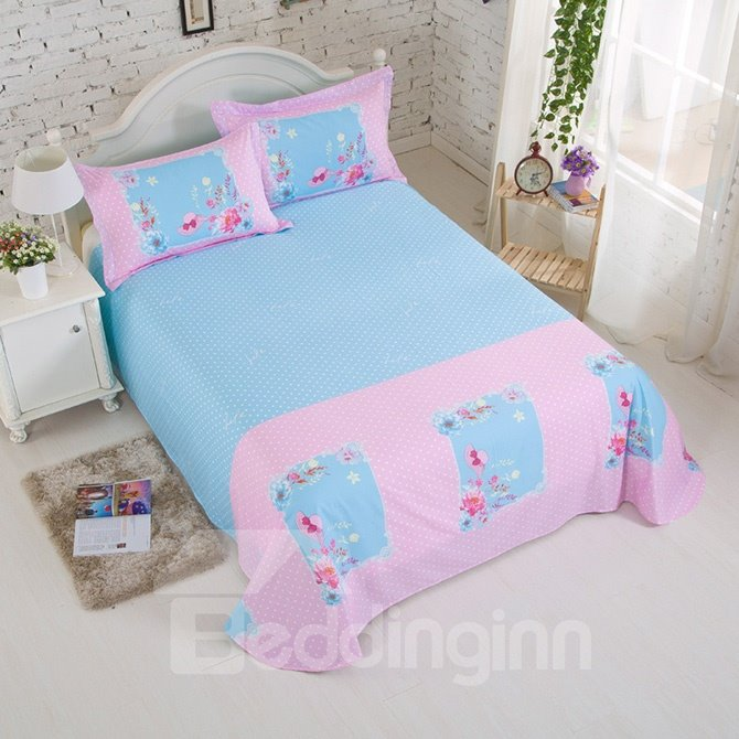 Fresh Flower Print Cotton Kids 4-Piece Duvet Cover Set