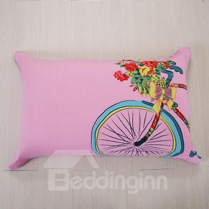 Bike Print Stripe Pattern Kids Cotton 4-Piece Duvet Cover Set
