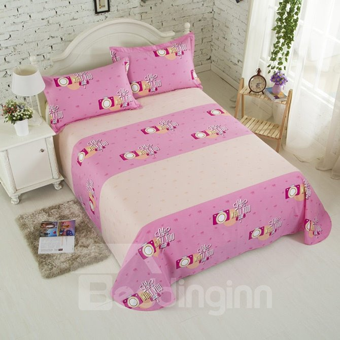 Pink Camera Print Cotton 4-Piece Duvet Cover Set