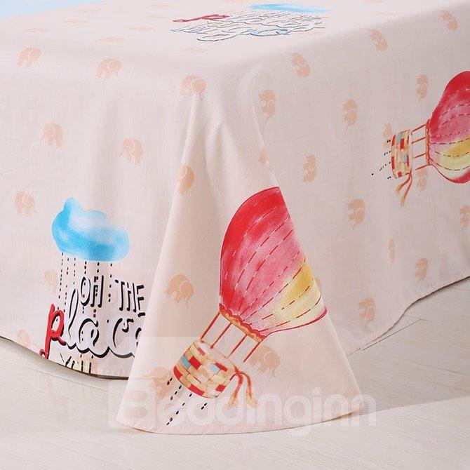 Plaid Pattern Air Balloon Print Kids Cotton 4-Piece Duvet Cover Set