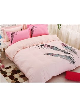 Fancy Feather Print Kids 4-Piece Duvet Cover Set