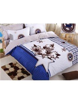 Stylish Maple Leaf Kids Cotton 4-Piece Duvet Cover Set