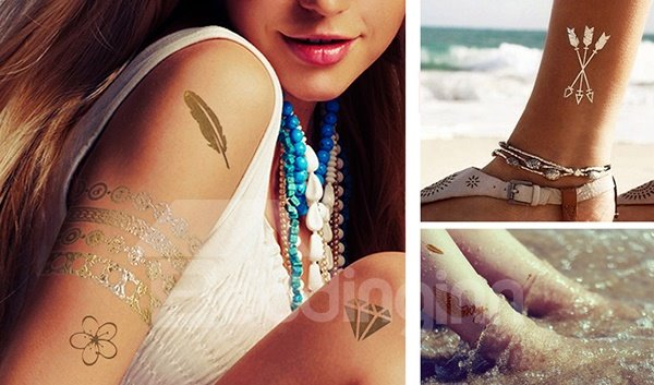 Fabulous Water-Proof Metal Butterfly Feather Letter 1 Set Body Tattoo Sticker