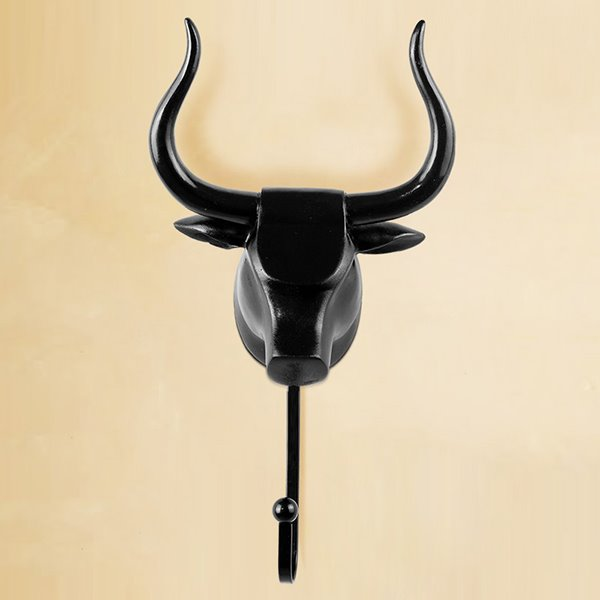 Vintage Decorative 3D Animal Design Ox Head Resin 3-Color Wall Hook