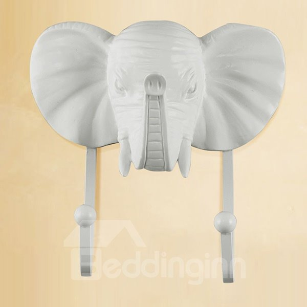 Vintage Decorative 3D Animal Design Elephant Head Resin 3-Color Wall Hook