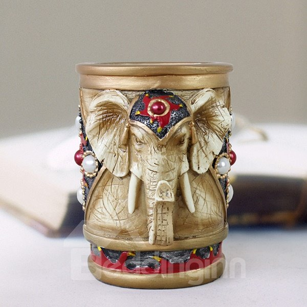 Creative 3D Elephant Design Pen Holder Desktop Decoration