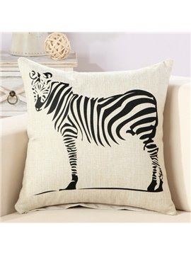 Black Zebra Print Comfy Cotton & Linen Decorative Throw Pillow