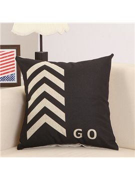 Fashionable Arrow Print Cotton Linen Black Throw Pillow