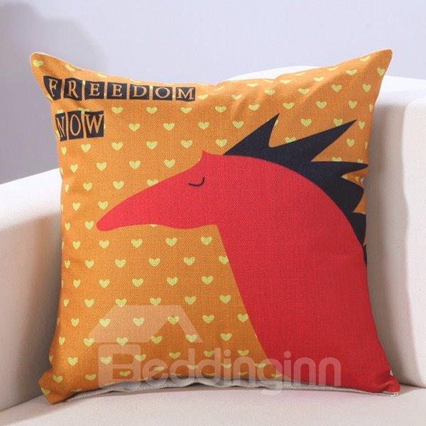 Sweet Small Heart Print Cotton Linen Decorative Throw Pillow