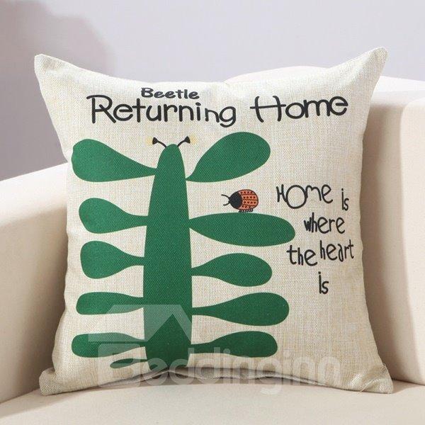 Fresh Ladybird & Letter Print Cotton & Linen Decorative Throw Pillow