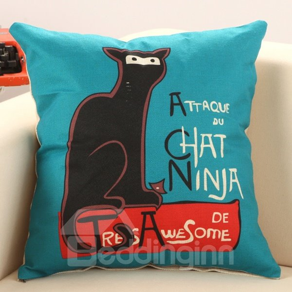 Cat Sat on The Bench Print Decorative Throw Pillow