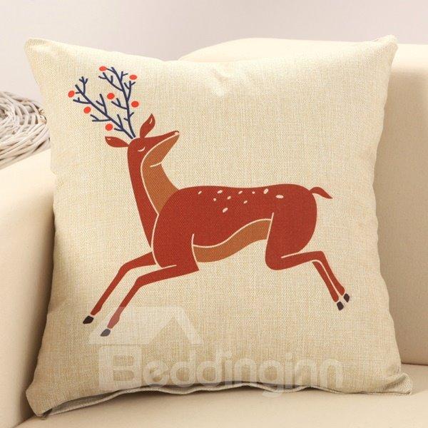 Running Sika Deer Print Cotton & Linen Throw Pillow