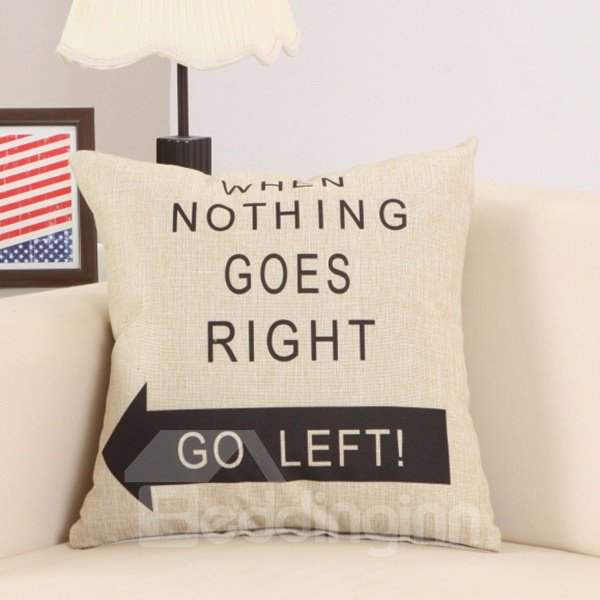 Chic Go Left Arrow Print Cotton Linen Throw Pillow