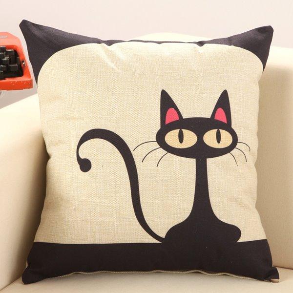 Lovely Black Cat Cotton Linen Decorative Throw Pillow