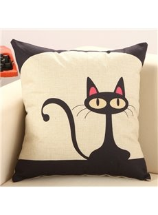Lovely Black Cat Cotton Linen Decorative Throw Pillow