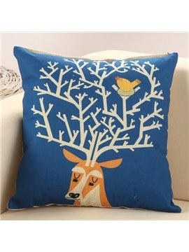 European Style Adorable Deer Print Cotton Linen Decorative Throw Pillow