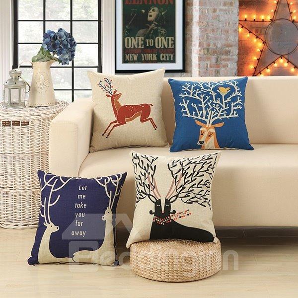 European Style Adorable Deer Print Cotton Linen Decorative Throw Pillow