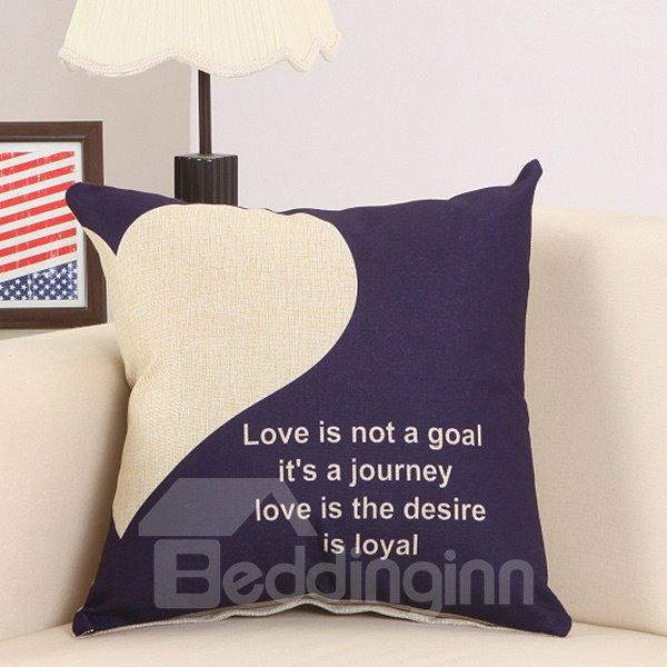 Fluffy Fashionable Heart Letter Print Cotton Linen Throw Pillow