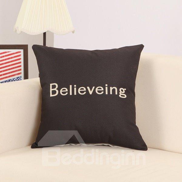 Believing Print Cool Black Cotton Linen Throw Pillow