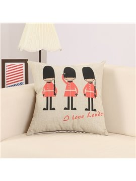 Cartoon Imperial Guard Print Cotton Linen Throw Pillow