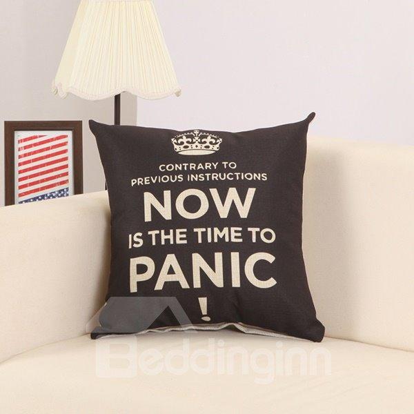 Chic Letter Crown Print European Style Black Throw Pillow