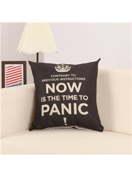 Chic Letter Crown Print European Style Black Throw Pillow
