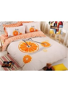 Creative Orange Bike Cotton Kids 4-Piece Duvet Cover Set