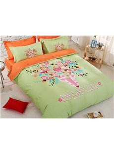 Deer Print Dream Big Kids 4-Piece Duvet Cover Set