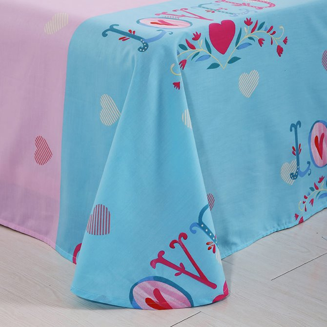 Romantic Heart Shape Pattern Kids 4-Piece Duvet Cover Set