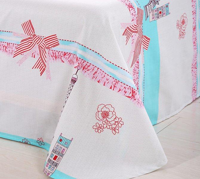 100% Cotton City Scene and Flower Print 4-Piece Duvet Cover Set