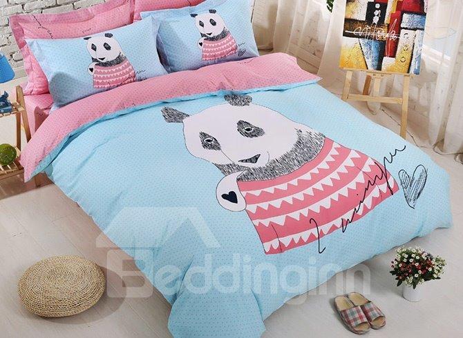 Wonderful Panda Print Cotton Kids 4-Piece Duvet Cover Set