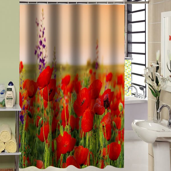 Colorful Flower Sea Design Bathroom Shower Curtain