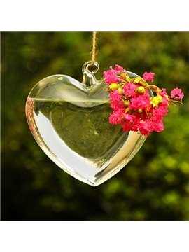 Romantic Heart Shaped Glass Hanging Flower Vase
