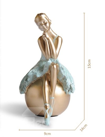 Graceful Resin Ballet Girl in Ponding Desktop Decoration