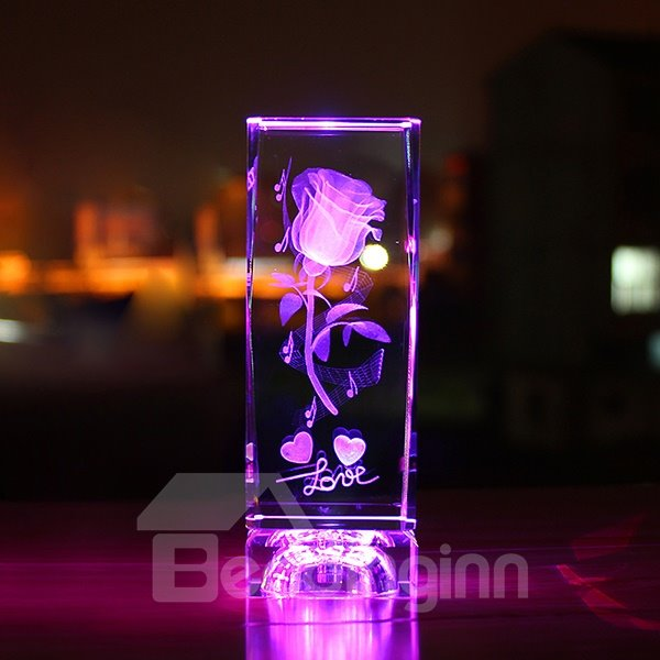 Gorgeous Romantic Luminous Rose Desktop Decoration Gift for Lover