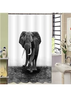Rural Style Concise Elephant Print 3D Shower Curtain