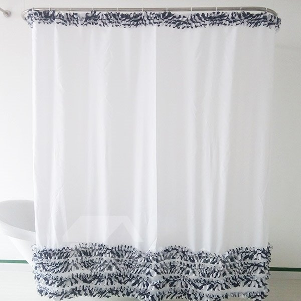New Style Faddish Lotus Leaves Line Shower Curtain