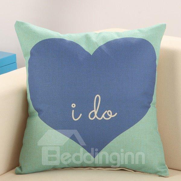 Refreshing Blue Heart Green Cotton Linen Throw Pillow