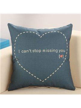 Sweet Heart Print Dark Blue Cotton Linen Throw Pillow