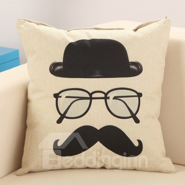 Fashion Mustache Print Cotton Linen Throw Pillow