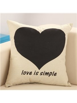 Stylish Black Love Print Cotton & Linen Throw Pillow