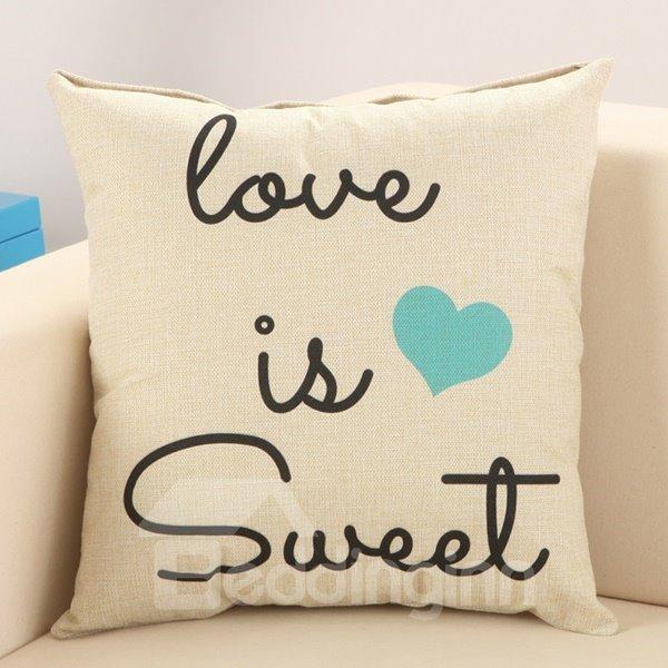 Sweet Love European Style Cotton Linen Decorative Throw Pillow