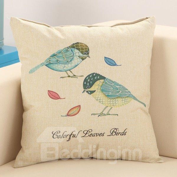 Blue Birds Print Fluffy Cotton & Linen Throw Pillow