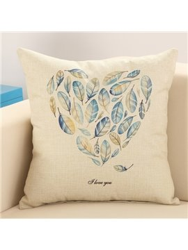 Blue Feather Heart Shape Design Cotton Linen Throw Pillow
