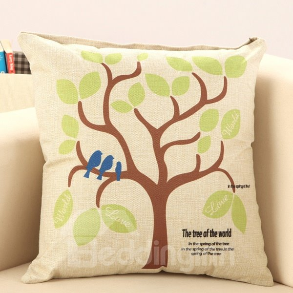 Birds Standing on Tree Print Throw Pillow