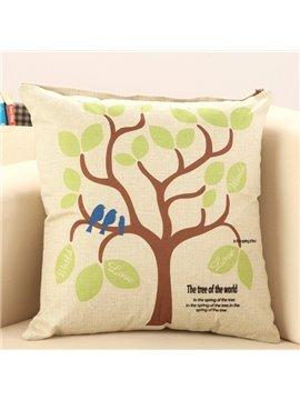 Birds Standing on Tree Print Throw Pillow