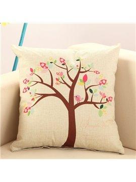 Bird Singing on Tree Print Cotton & Linen Throw Pillow