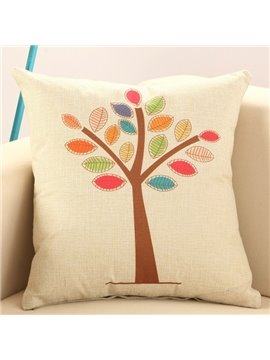 Colorful Tree Print Soft Cotton Linen Throw Pillow