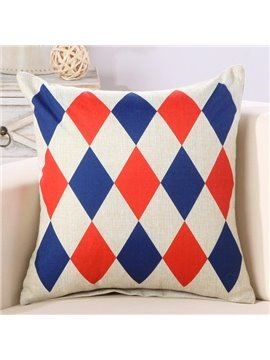 Diamond Check Print Super Fluffy Cotton & Linen Throw Pillow